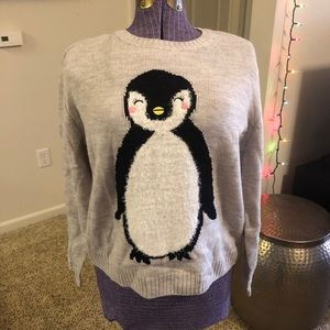 Divided Fuzzy Penguin Sweater Size Small